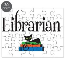 librarian with black cat Puzzle