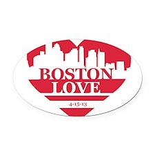 Boston Love Oval Car Magnet