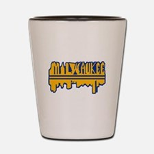MKE Skyline Drip Yellow Shot Glass