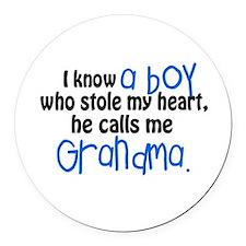 I know a boy Round Car Magnet
