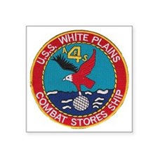 "uss white plains patch Square Sticker 3"" x 3"""