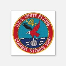 "uss white plains patch Square Sticker 3"" x 3"""