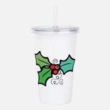 cute holly leaves.png Acrylic Double-wall Tumbler