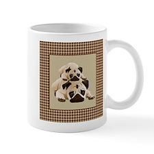 Pugs on Brown Houndstooth Mug