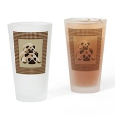Pugs on Brown Houndstooth Drinking Glass