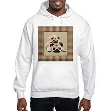 Pugs on Brown Houndstooth Hoodie
