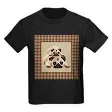 Pugs on Brown Houndstooth T
