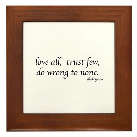 Shakespeare quote Framed Tile