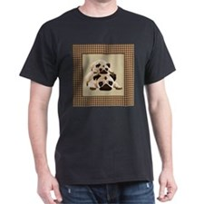 Pugs on Brown Houndstooth T-Shirt