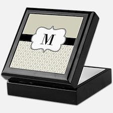 Tan Black Quatrefoil Monogram Keepsake Box