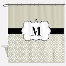 Tan Black Quatrefoil Monogram Shower Curtain