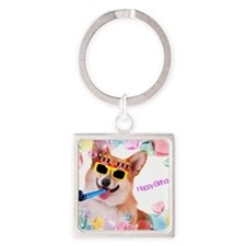 Happy Birthday Corgi Square Keychain