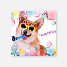 "Happy Birthday Corgi Square Sticker 3"" x 3"""