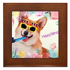 Happy Birthday Corgi Framed Tile