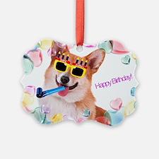 Happy Birthday Corgi Ornament