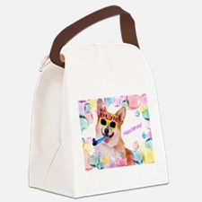 Happy Birthday Corgi Canvas Lunch Bag