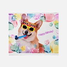 Happy Birthday Corgi Throw Blanket