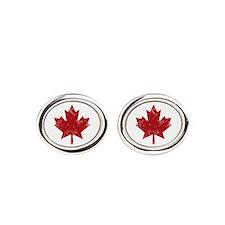 Cute Canadian flag Oval Cufflinks