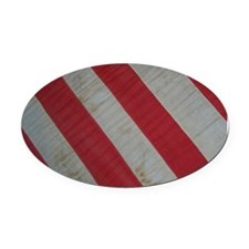 Red and White Stripes Oval Car Magnet
