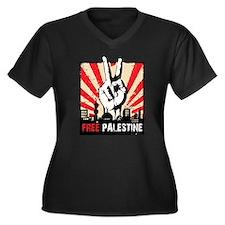 free palest Women's Plus Size V-Neck Dark T-Shirt