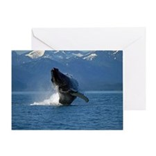 Humpback Whale Breaching Alaska Greeting Card