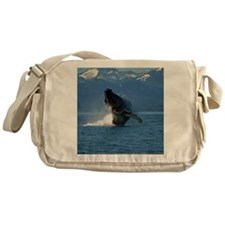 Humpback Whale Breaching Alaska Messenger Bag
