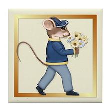 Daisy Bouquet Boy Mouse Tile Coaster