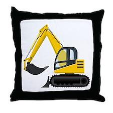 Yellow Excavator Throw Pillow