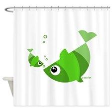 Green Fishes Shower Curtain