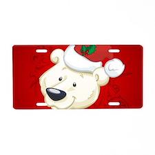 Christmas polar bear Aluminum License Plate