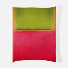 ROTHKO GREEN AND HOT PINK Woven Throw Pillow