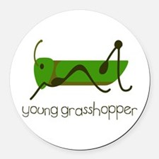Young Grasshopper Round Car Magnet