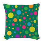 Polka Dots Rainbow Woven Throw Pillow