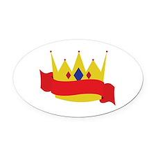 King Crown Ribbbon Oval Car Magnet