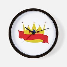 King Crown Ribbbon Wall Clock