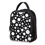 Polka Dot Black White Neoprene Lunch Bag