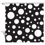 Polka Dot Black White Shower Curtain