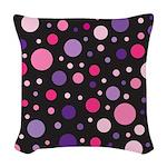 Polka dots pink purple Woven Throw Pillow