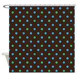 Polka Dots Blue Green Shower Curtain
