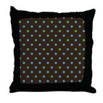 Polka Dots Blue Green Throw Pillow