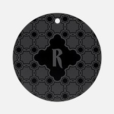 MONOGRAM Gothic Quatrefoil Pattern Ornament (Round