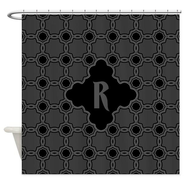 monogram gothic quatrefoil pattern shower curtain by
