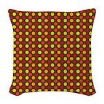 Polka Dots (Orange) Woven Throw Pillow