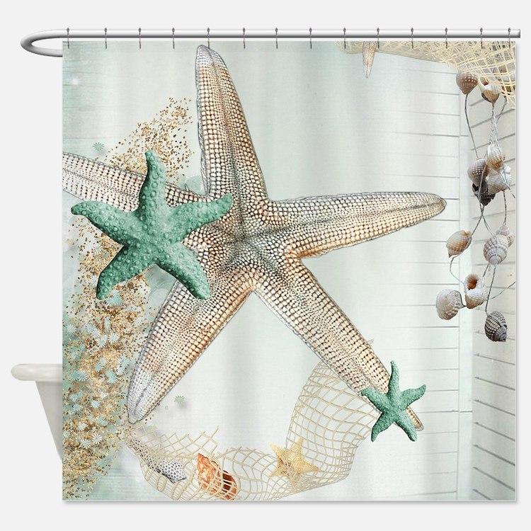 Sea Shell Shower Curtains Sea Shell Fabric Shower