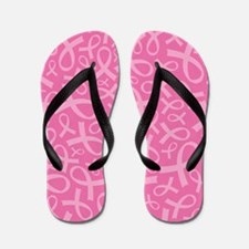 Breast Cancer Pink Ribbon Flip Flops