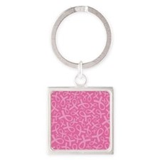 Breast Cancer Pink Ribbon Square Keychain