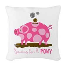 Saving For A Pony Woven Throw Pillow
