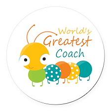 Worlds Best Coach Round Car Magnet