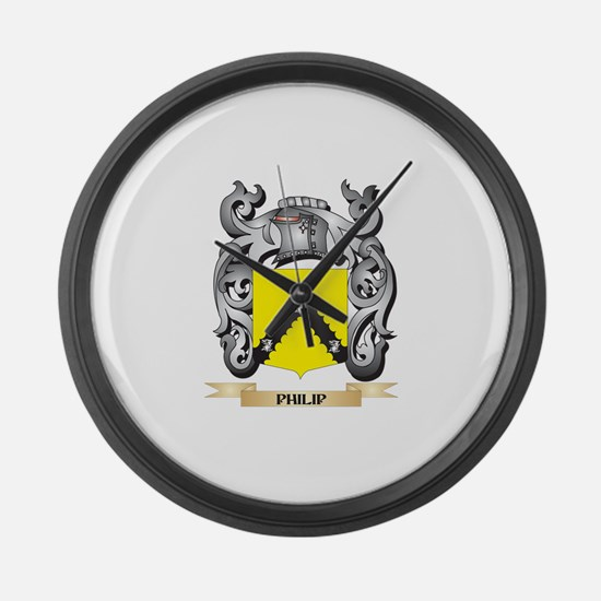 Philip Coat of Arms - Family Cres Large Wall Clock