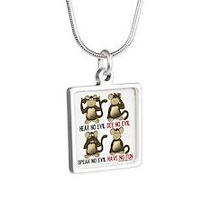 Hear No Evil Have No Fun Monkeys Necklaces